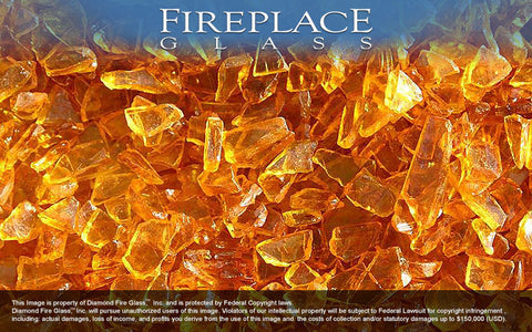 Honey Yellow Crystal Fireplace Glass
