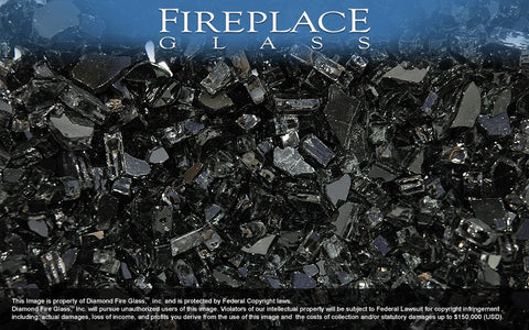 Black Midnight Crystal Fireplace Glass