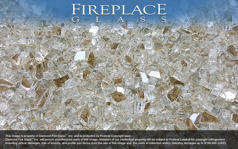 Platinum X Reflective Crystal Fireplace Glass