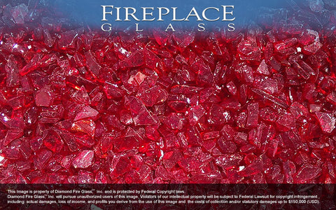 Ruby Red Crystal Fireplace Glass