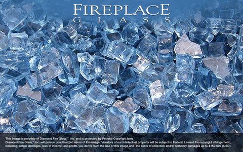 Sapphire Blue Crystal Fireplace Glass