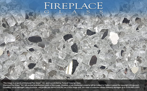 Silver Reflective Nugget Fireplace Glass