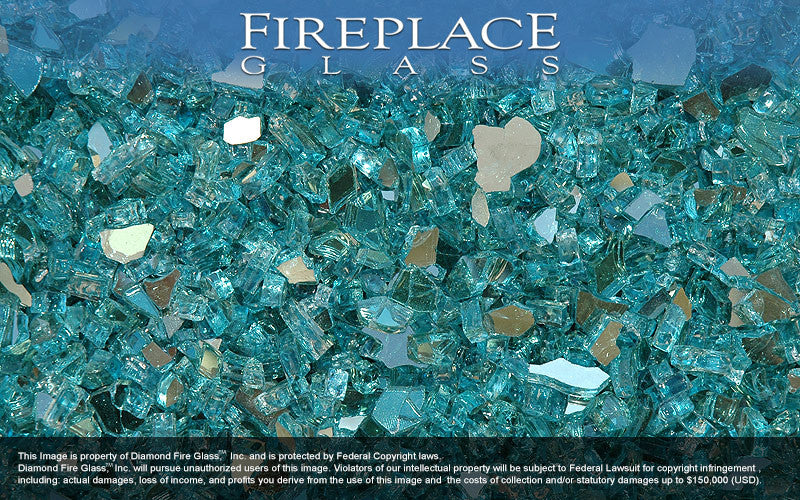 Turquoise Reflective Crystal Fireplace Glass