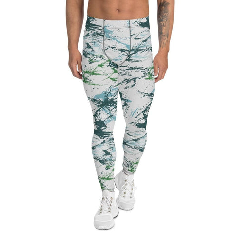 Abstract Blue Green CAMO Men's Leggings - XS