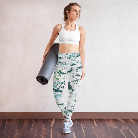 Abstract Blue Green CAMO Yoga Leggings - XS
