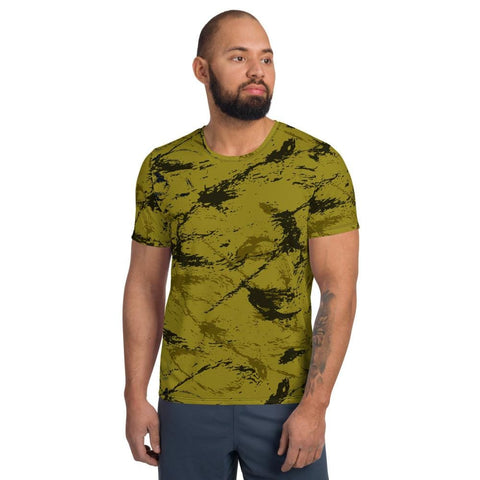 Abstract Mustard CAMO Men's Athletic T-shirt - XS
