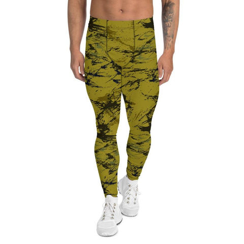 Abstract Mustard CAMO Men's Leggings - XS