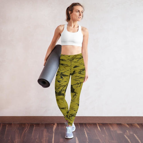 Abstract Mustard CAMO Yoga Leggings - XS
