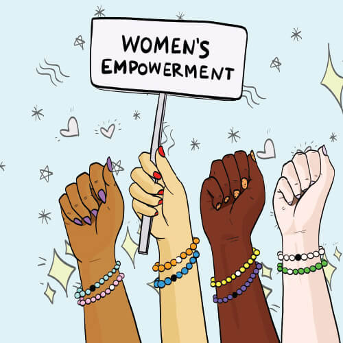 Illustration of four women's arms, wearing Lokai Bracelets, one hand holding a sign that reads Women's Empowerment