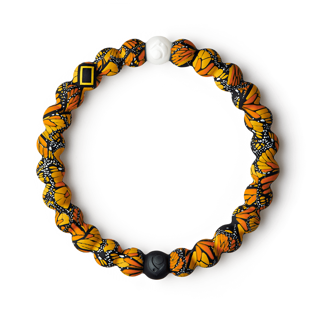 Silicone beaded bracelet with butterfly pattern on it.