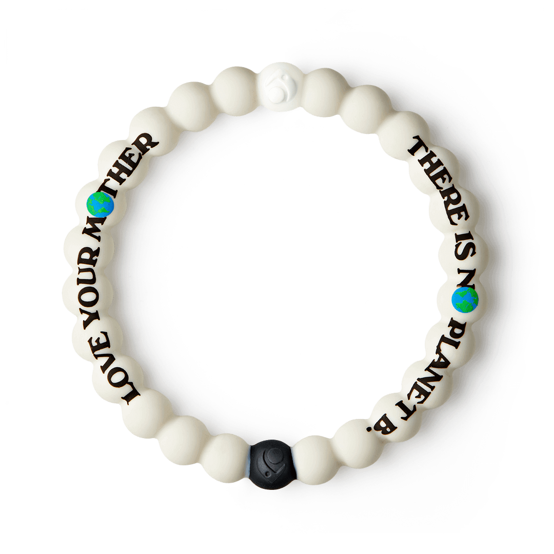 Tan silicone beaded bracelet with