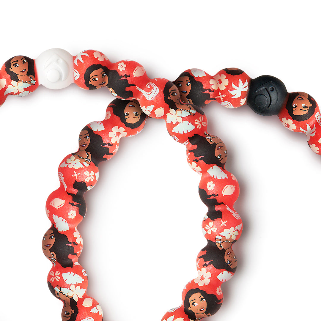 Close up of silicone beaded bracelet with Moana pattern.