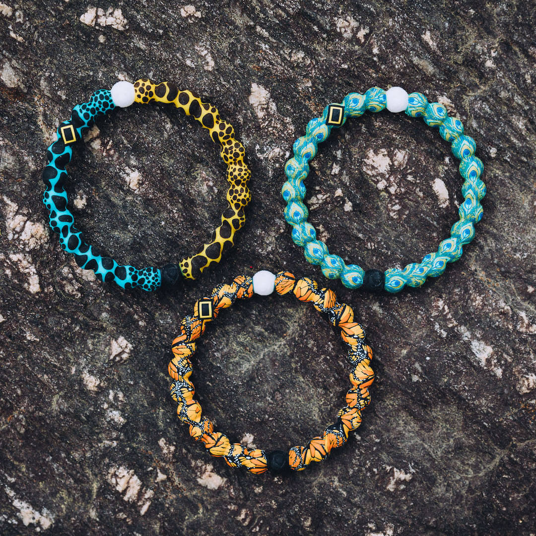 Poison frog, butterfly, and peacock silicone beaded bracelets