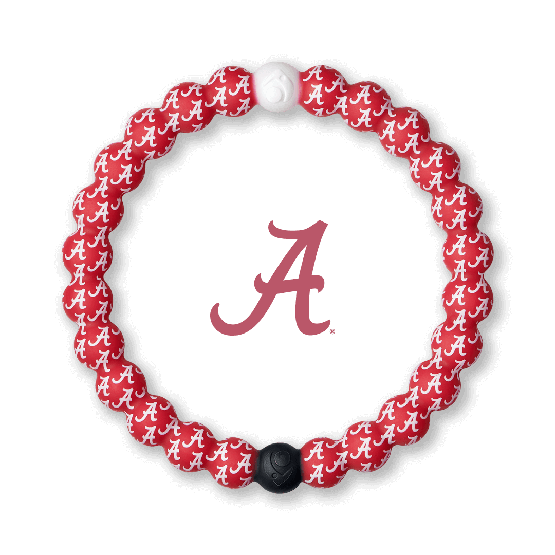 Red and White silicone beaded bracelet with the University of Alabama logo pattern.