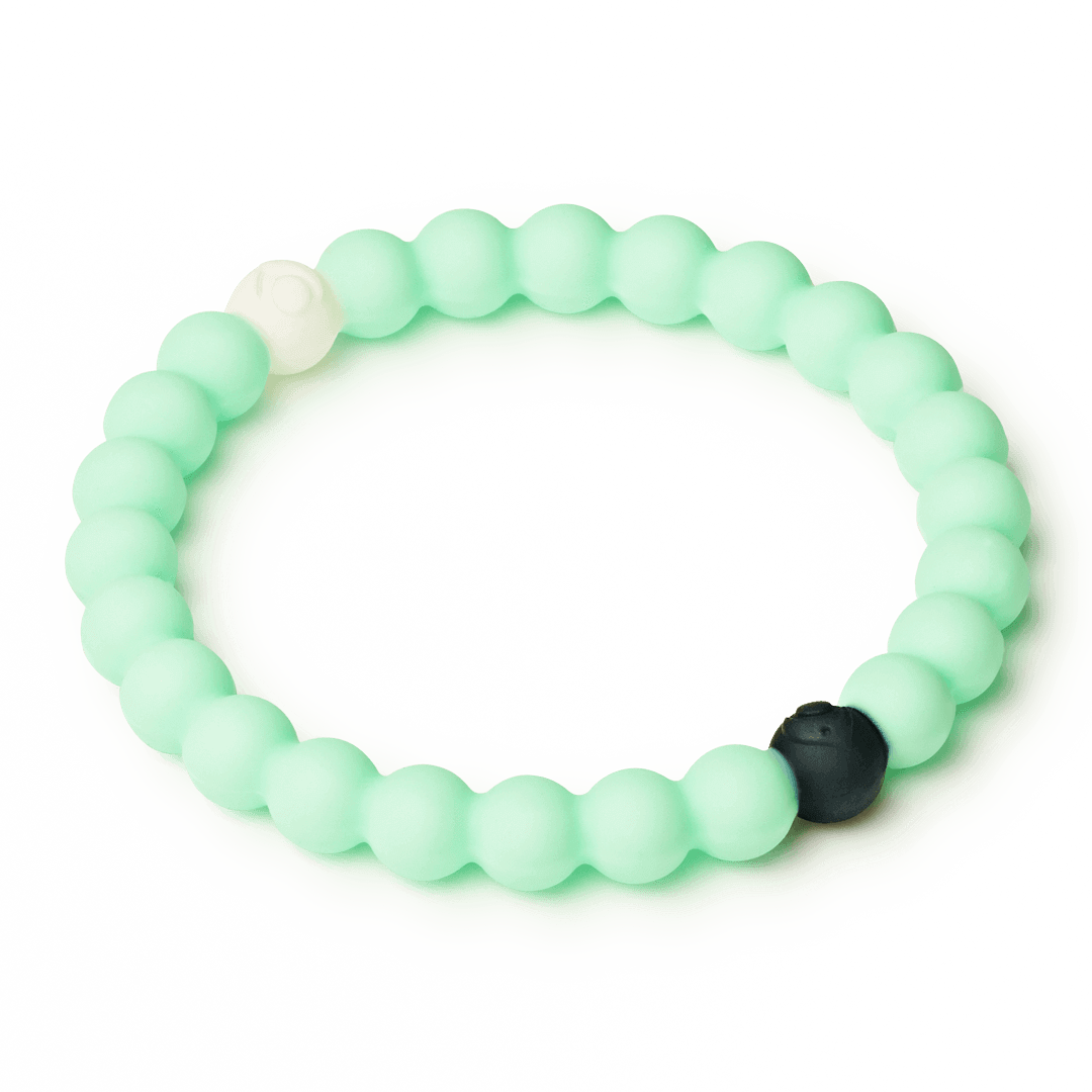 Side angle of mint silicone beaded bracelet.