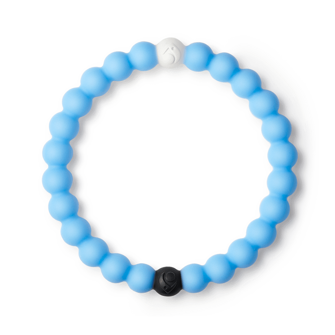 Light blue silicone beaded bracelet.