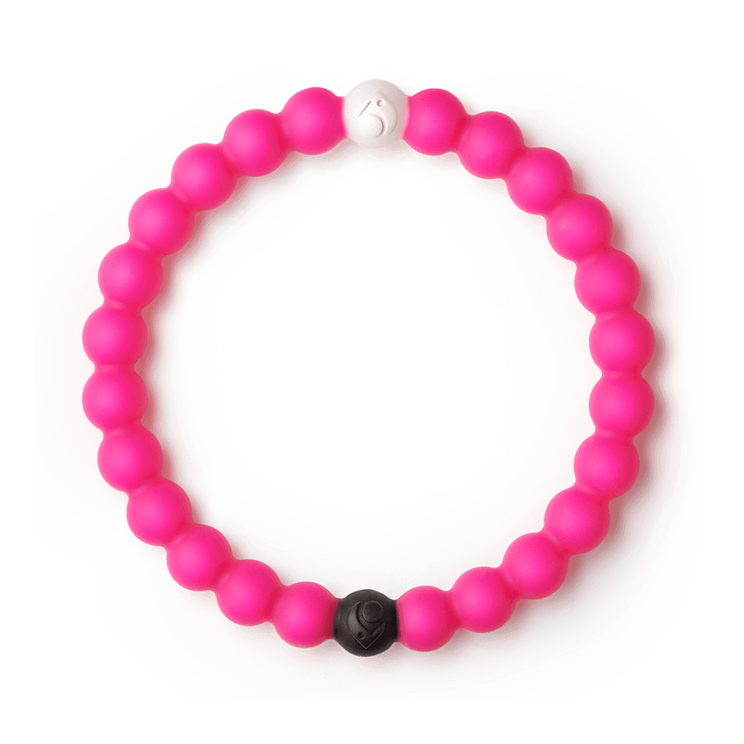 Hot pink silicone beaded bracelet.