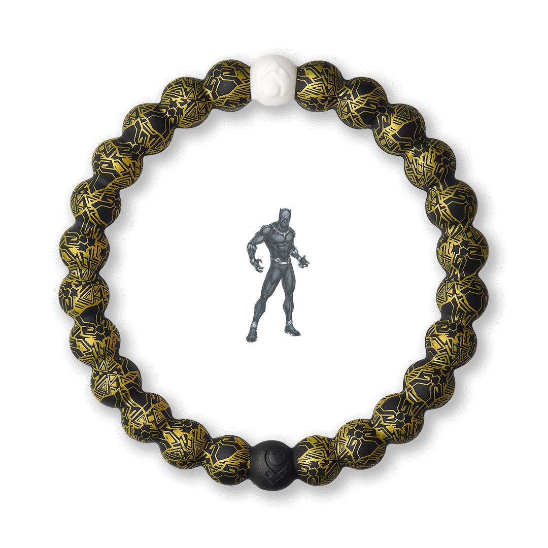 Silicone beaded bracelet with black and gold Black Panther pattern.