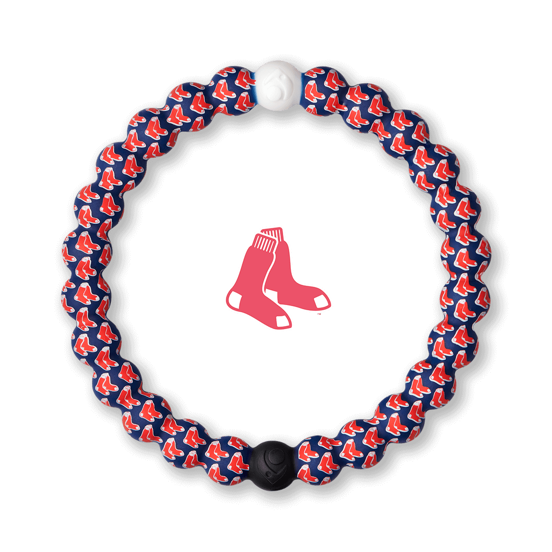 Silicone beaded bracelet with Red Sox Logo pattern