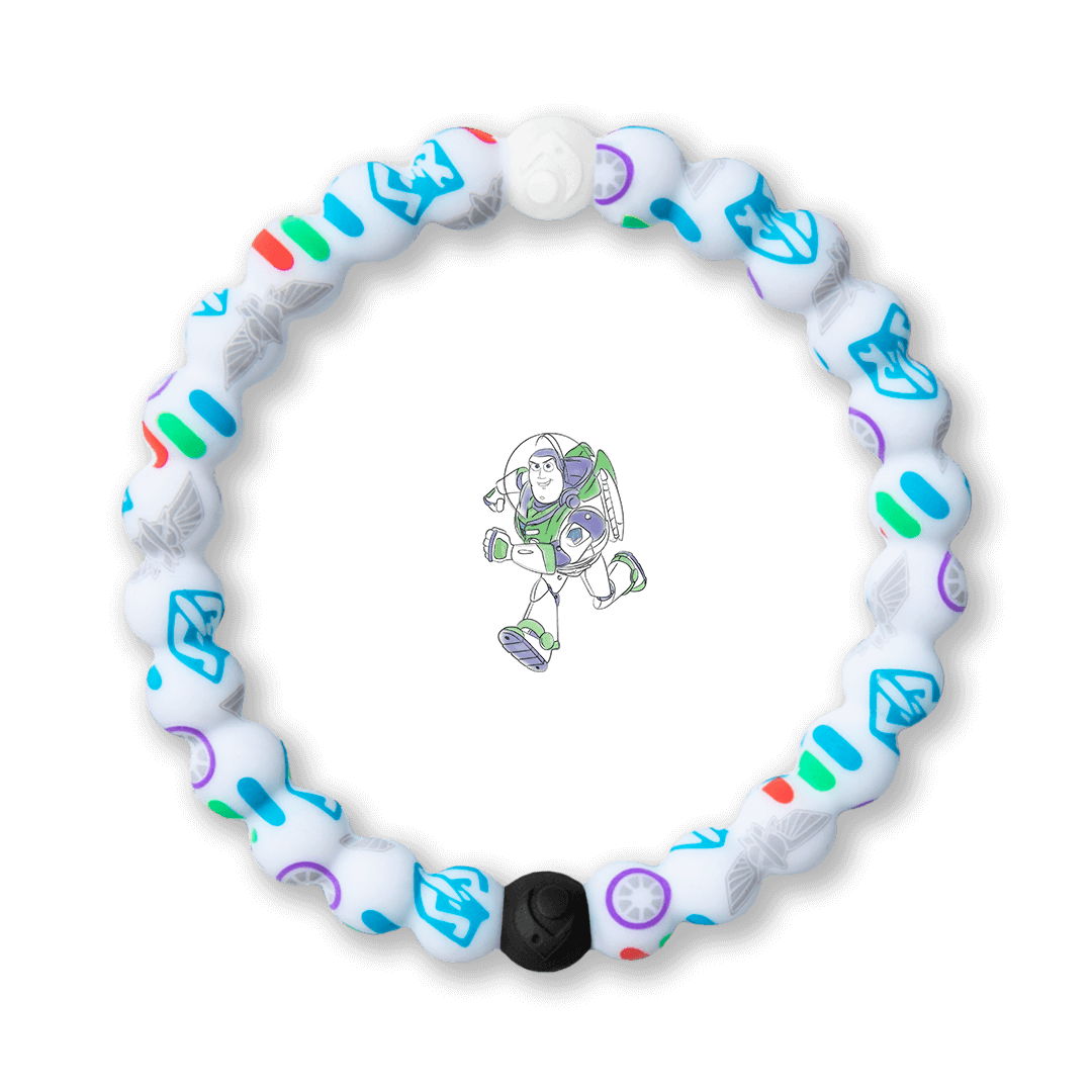 Silicone beaded bracelet with Buzz Lightyear pattern