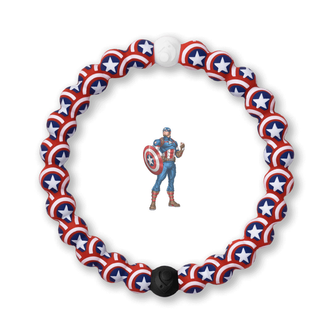 Silicone beaded bracelet with Captain America's shield pattern.