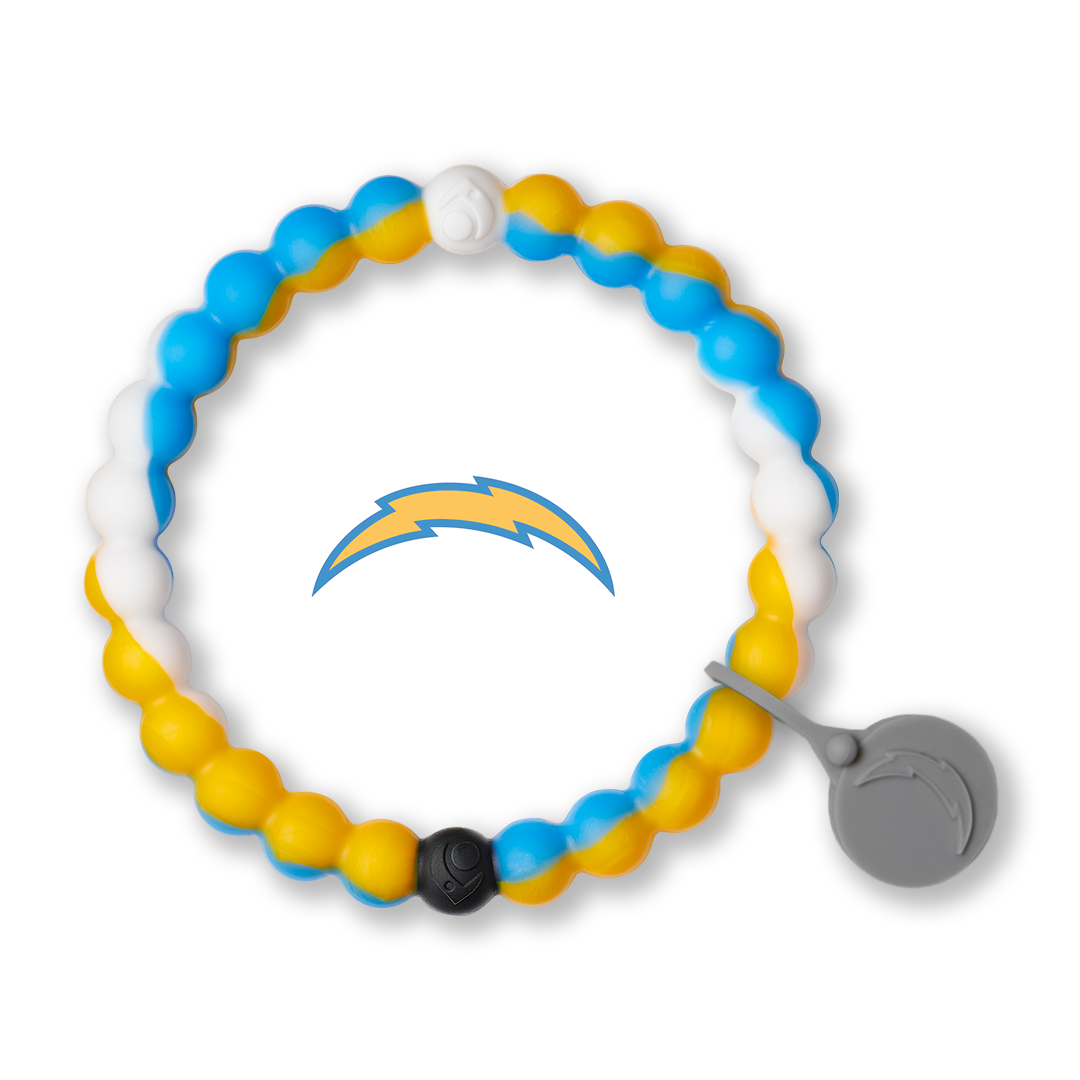 White, gold and powder blue silicone beaded bracelet with Los Angeles Chargers team logo in the center.