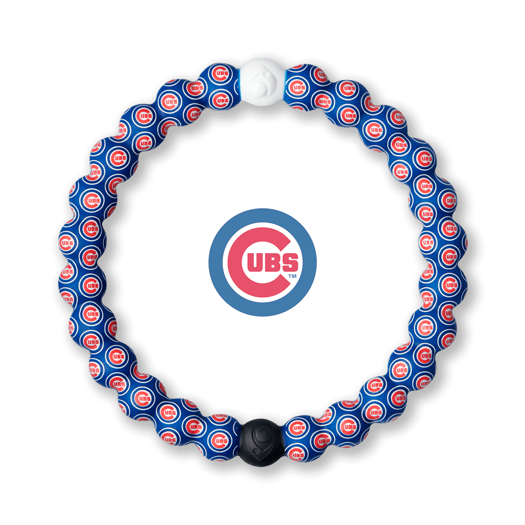 Silicone beaded bracelet with Chicago Cubs logo pattern