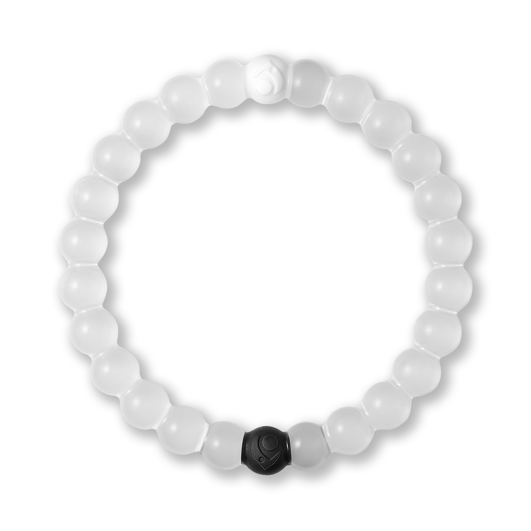 Clear silicone beaded bracelet.