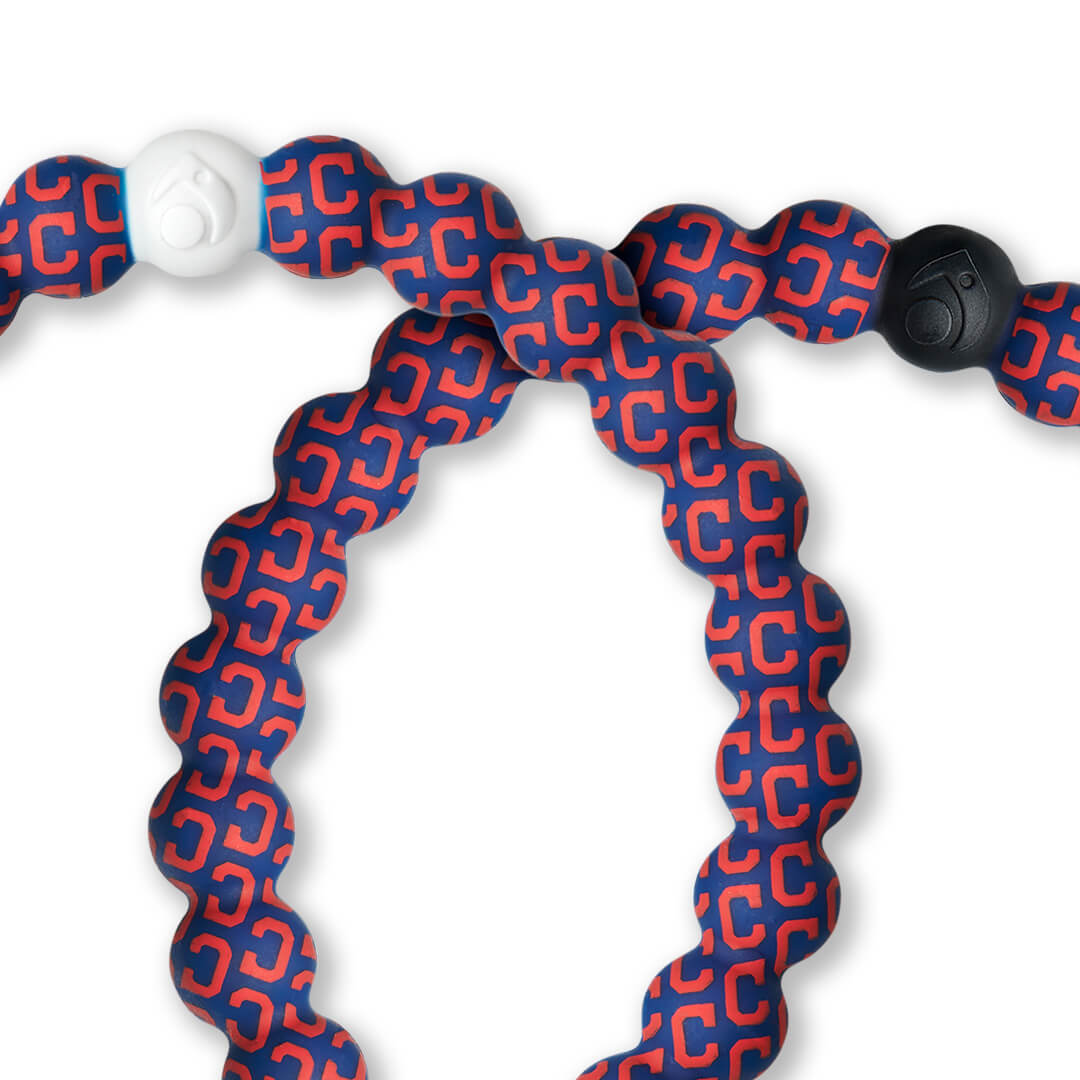 Close up of silicone beaded bracelet with Cleveland Indians logo pattern.