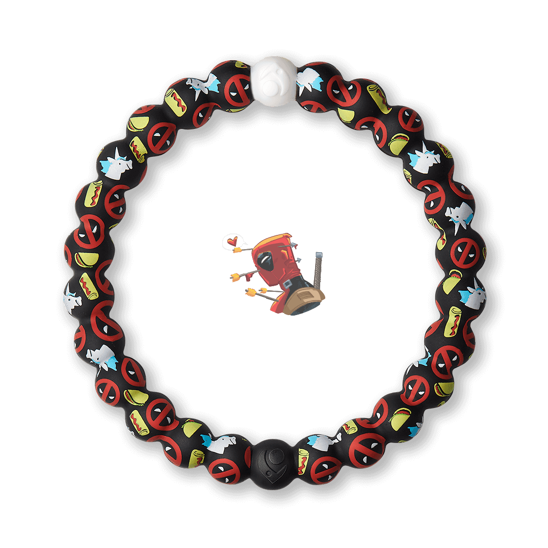 Silicone beaded bracelet with Deadpool pattern.