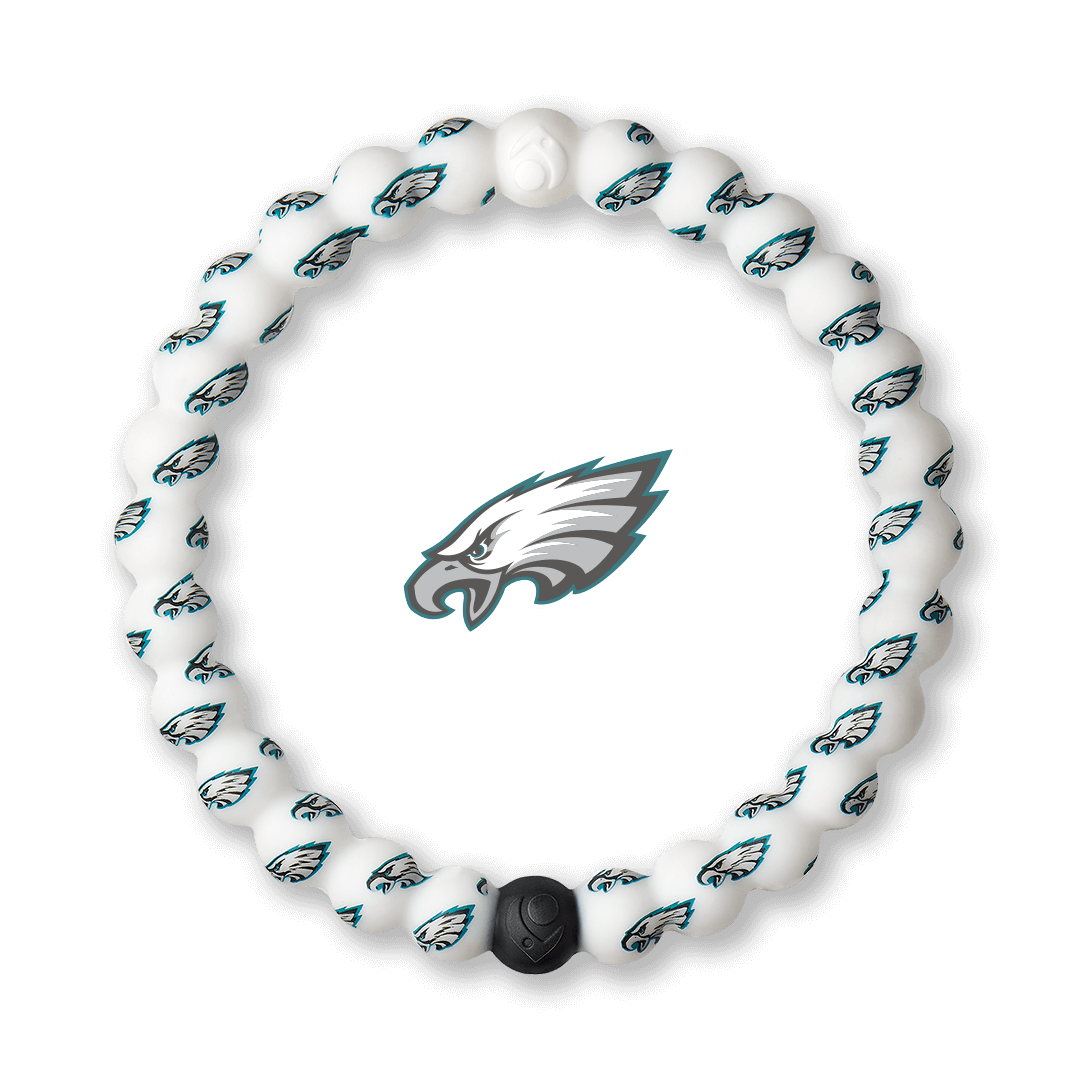 Black, white and teal swirl silicone beaded bracelet.