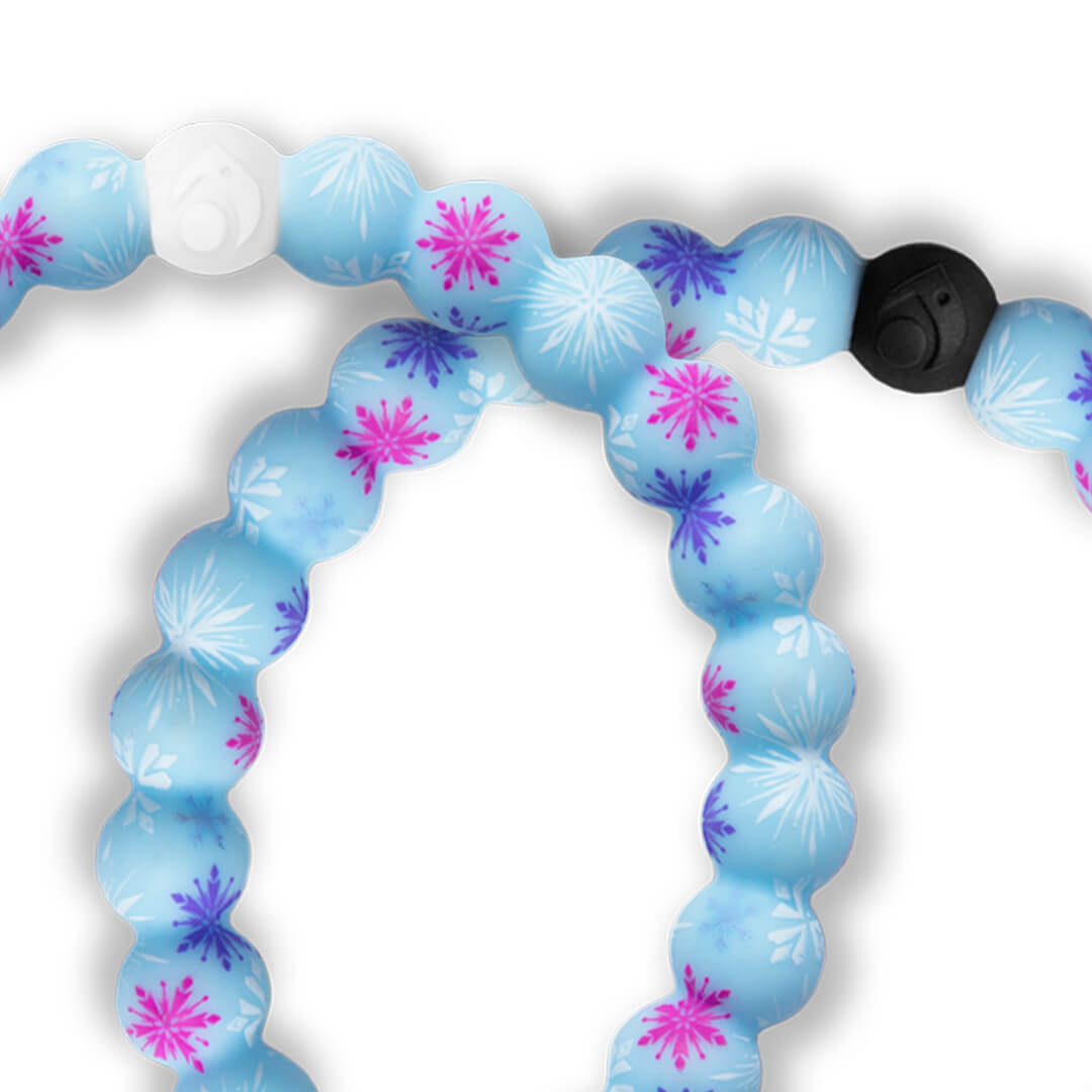 Close up of silicone beaded bracelet with snowflake pattern