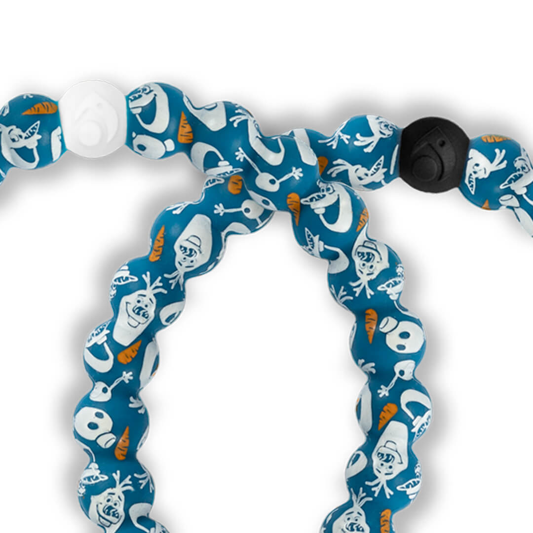 Close up of silicone beaded bracelet with Olaf pattern