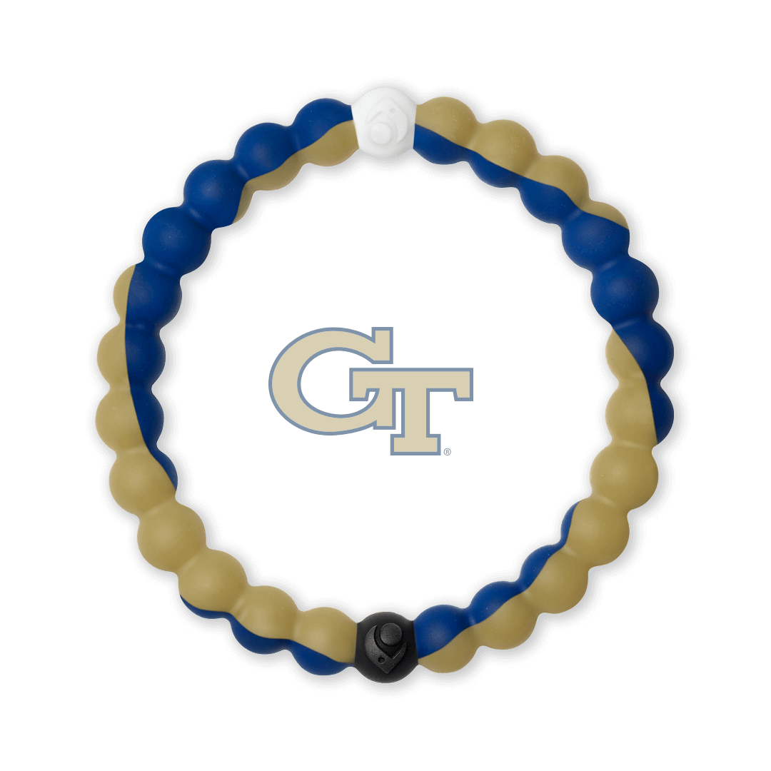 Beige and blue silicone beaded bracelet with the Georgia Tech logo in the center.