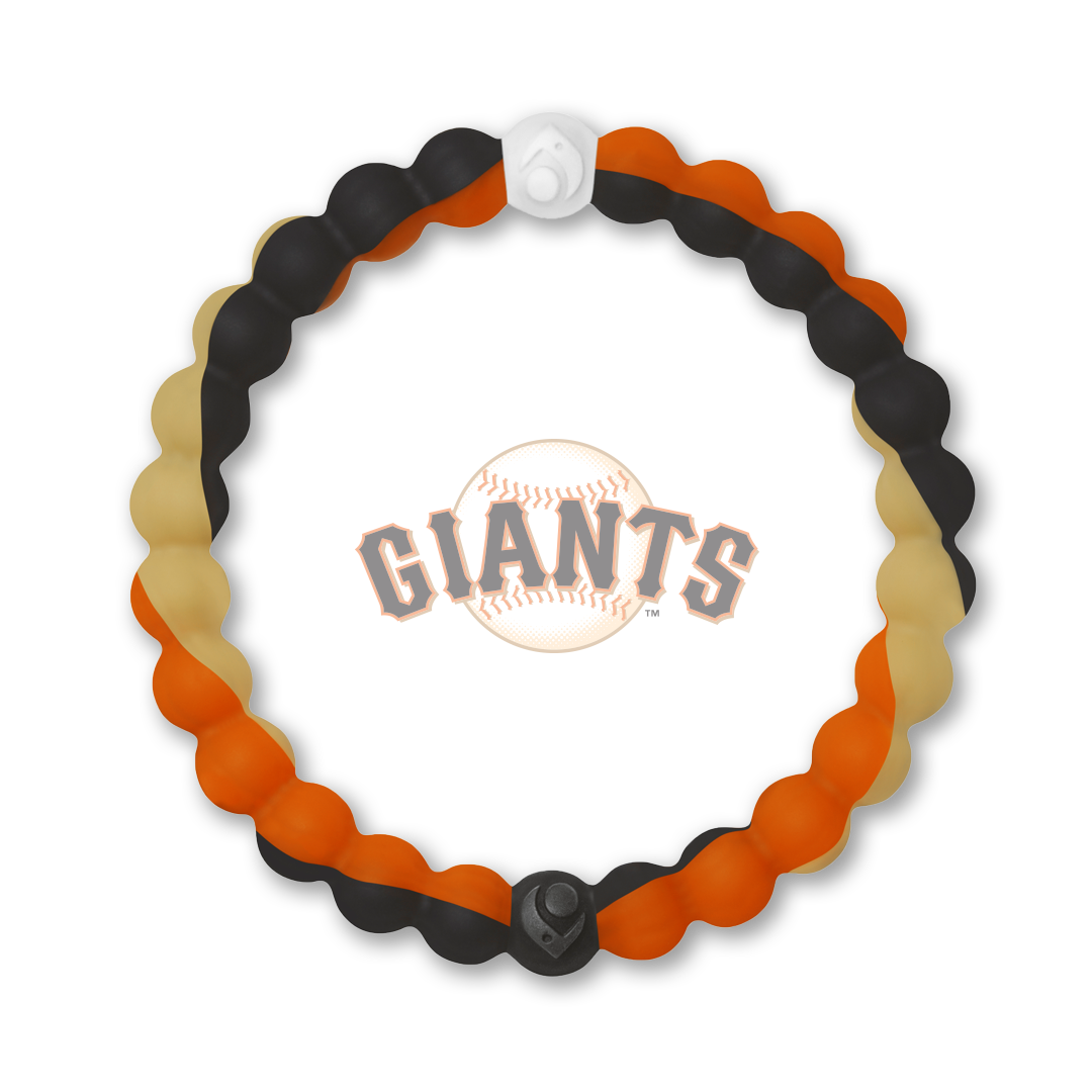 Orange, black and tan silicone beaded bracelet with San Francisco Giants team logo in the center.