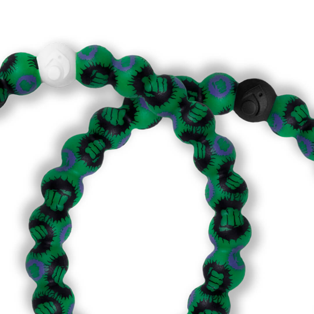 Close up of silicone beaded bracelet with Hulk fist pattern.
