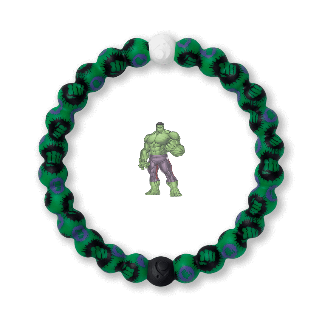 Silicone beaded bracelet with Hulk fist pattern.