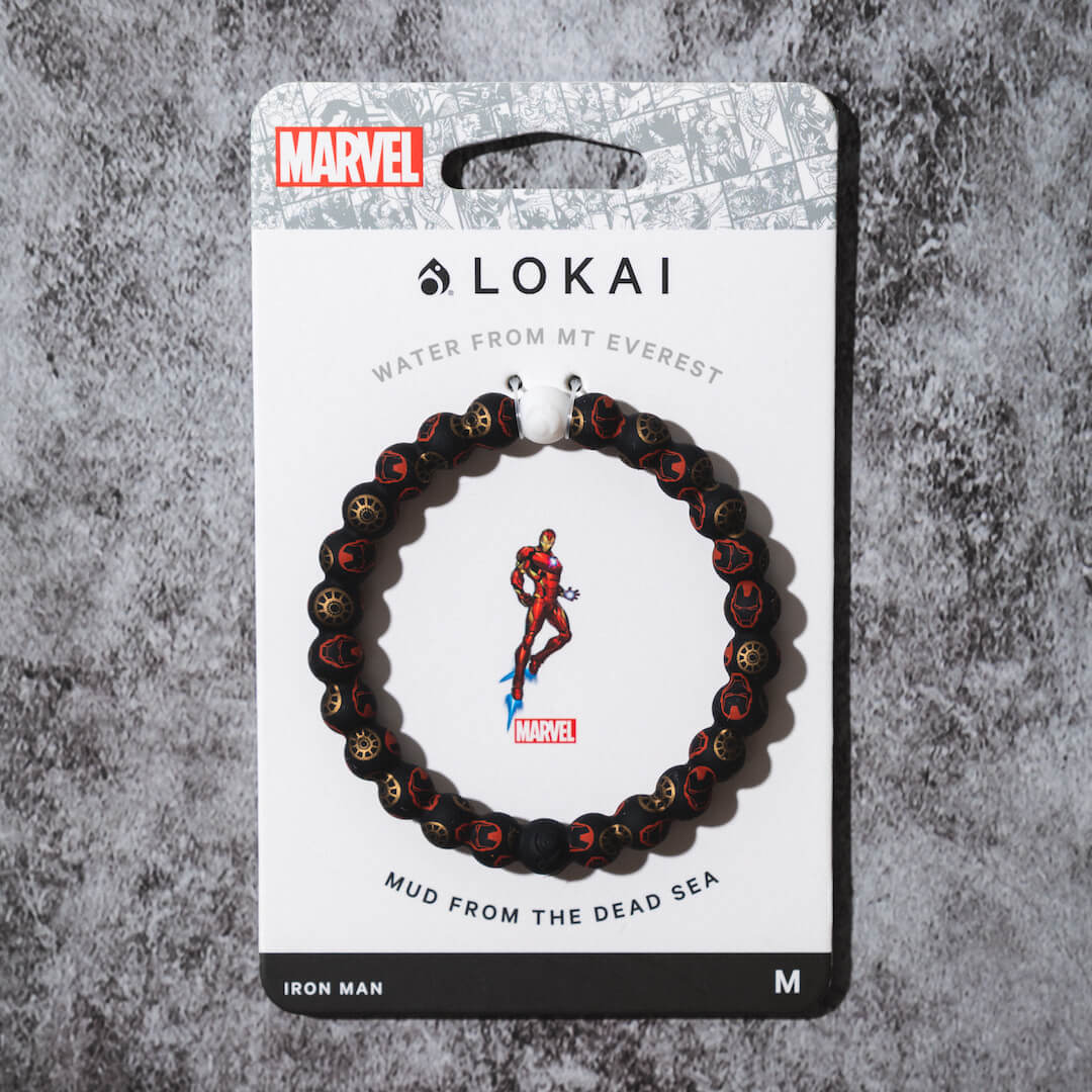 Silicone beaded bracelet with Iron Man pattern on carded back.