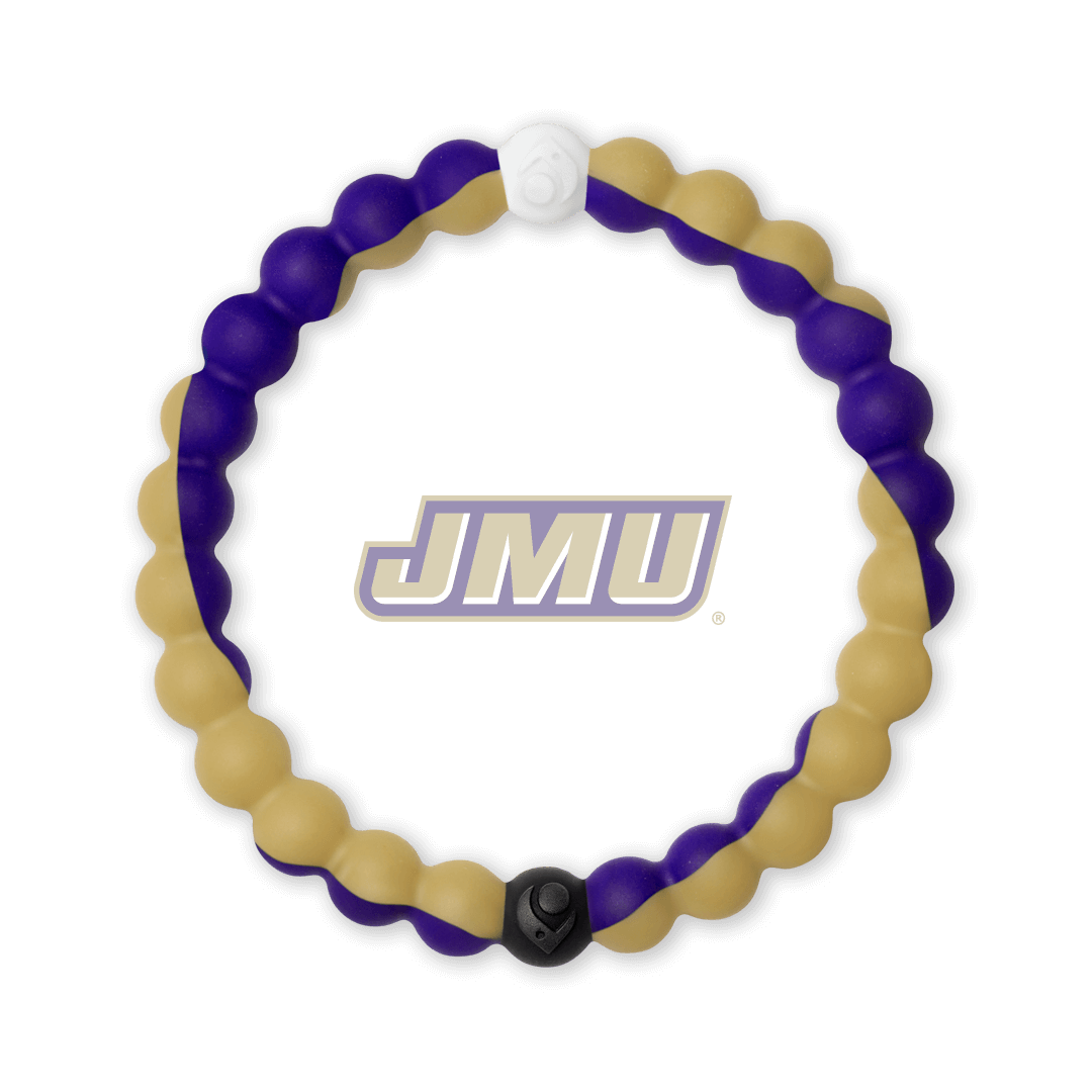 Purple and gold silicone beaded bracelet with the James Madison University logo in the center.