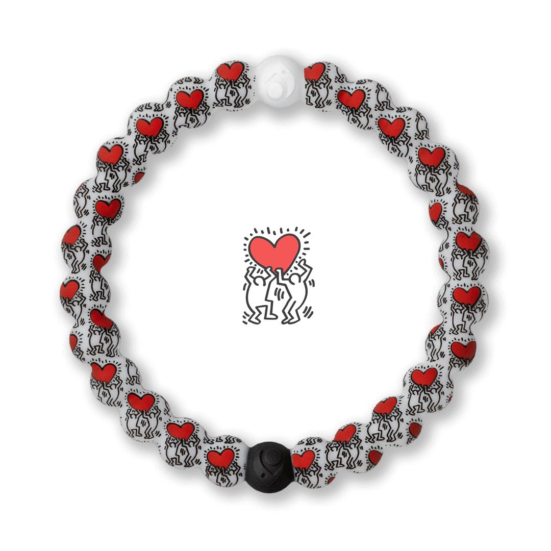 Silicone beaded bracelet with Keith Haring Heart pattern.
