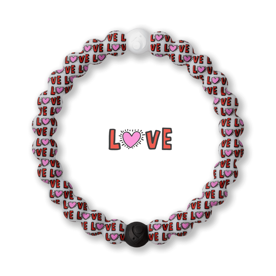 Silicone beaded bracelet with Keith Haring love pattern.