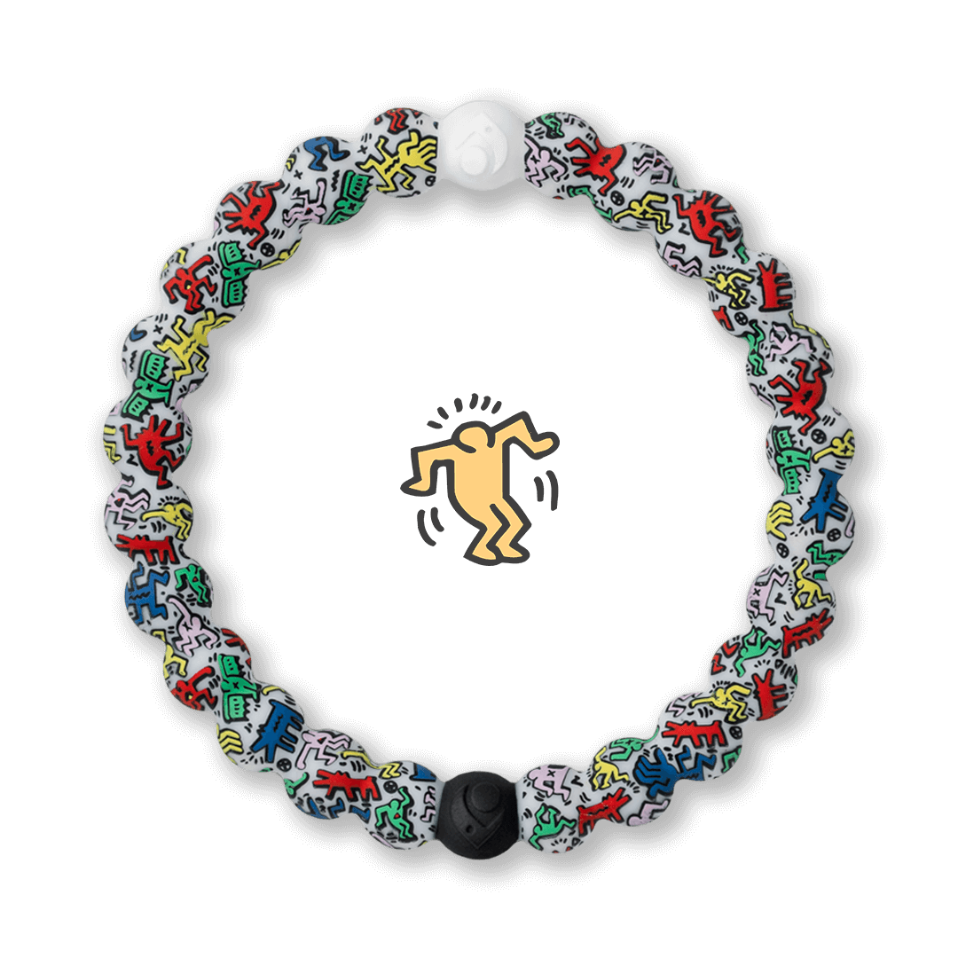 Silicone beaded bracelet with Keith Haring character pattern.