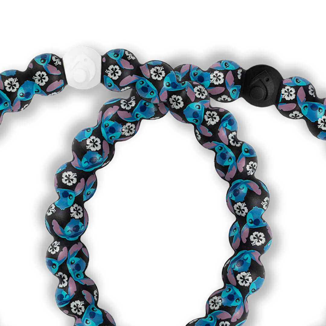 Close up of silicone beaded bracelet with Lilo and Stitch pattern
