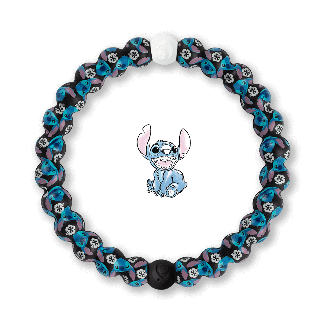 Silicone beaded bracelet with Lilo and Stitch pattern