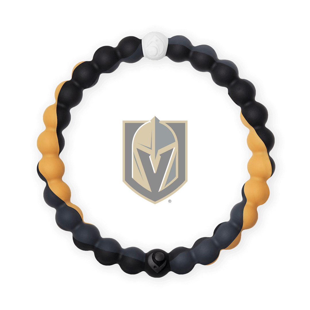 Black, gold and orange silicone beaded bracelet with Vegas Golden Knights team logo in the center.