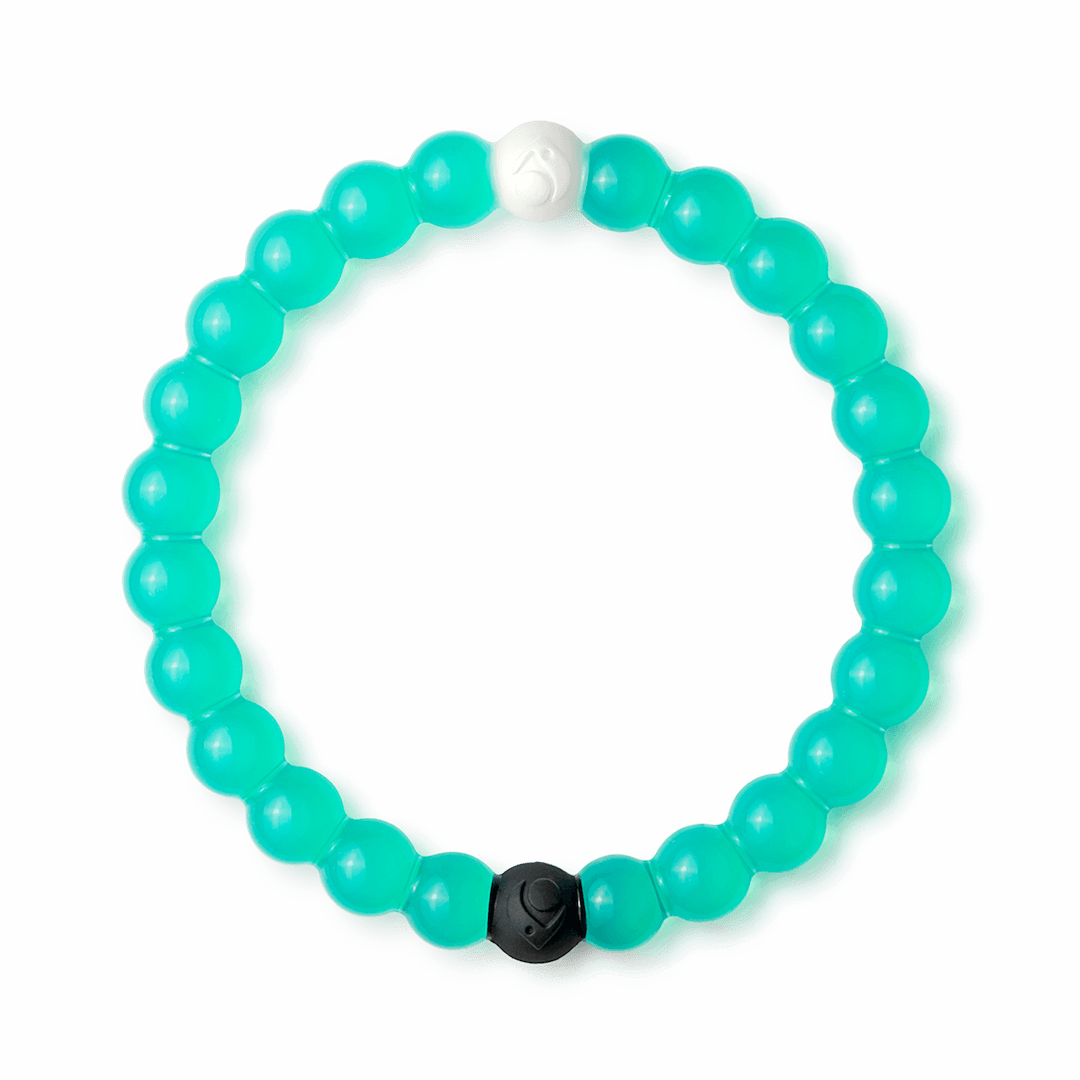 Teal silicone beaded bracelet.