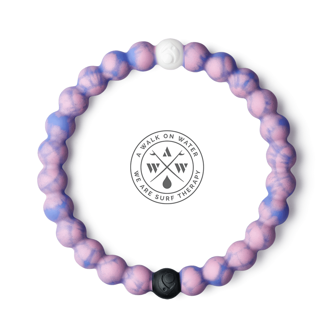 Tie-dye pink and blue silicone beaded bracelet.