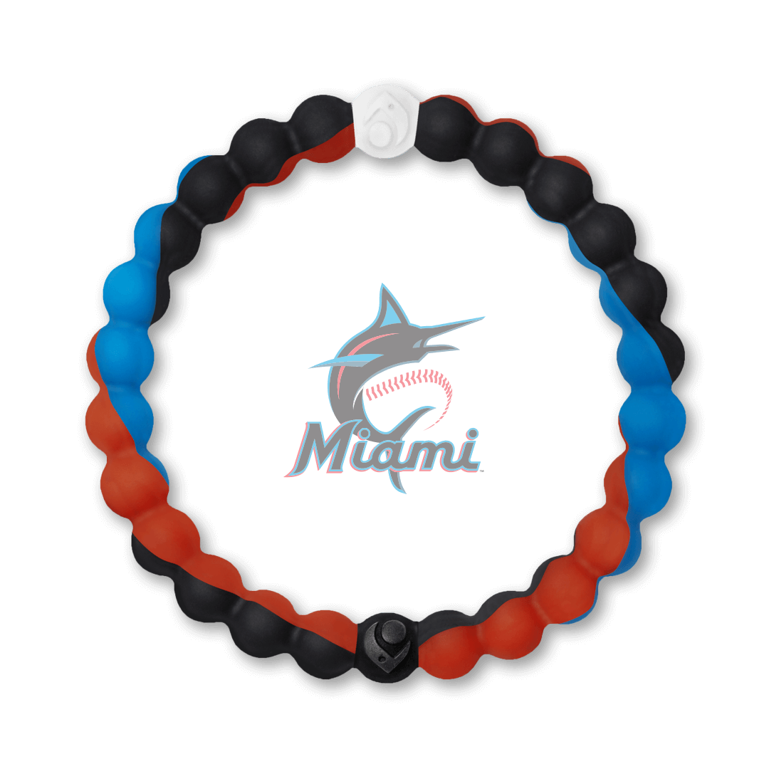Black, blue and orange silicone beaded bracelet with Miami Marlins team logo in the center.