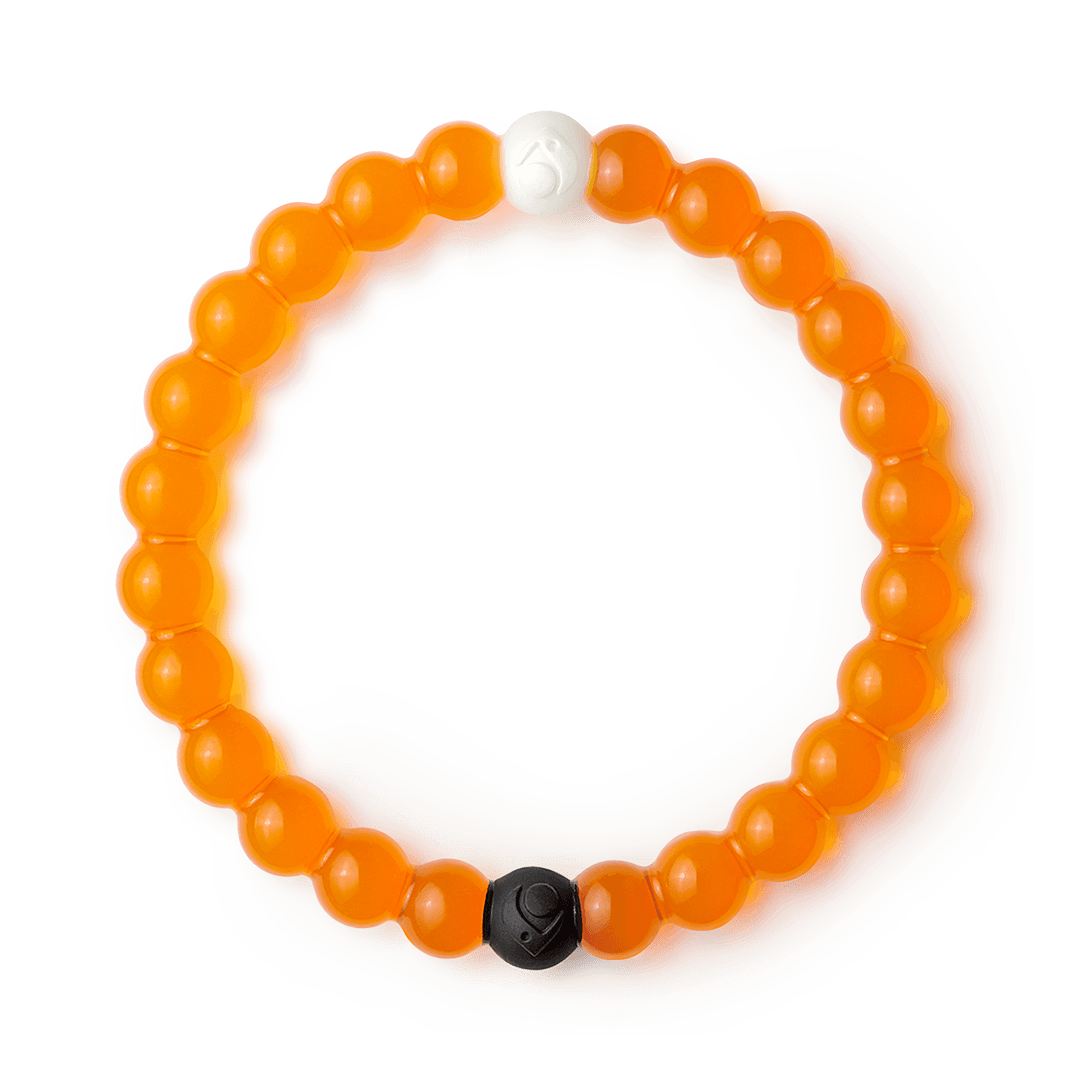 Orange silicone beaded bracelet.