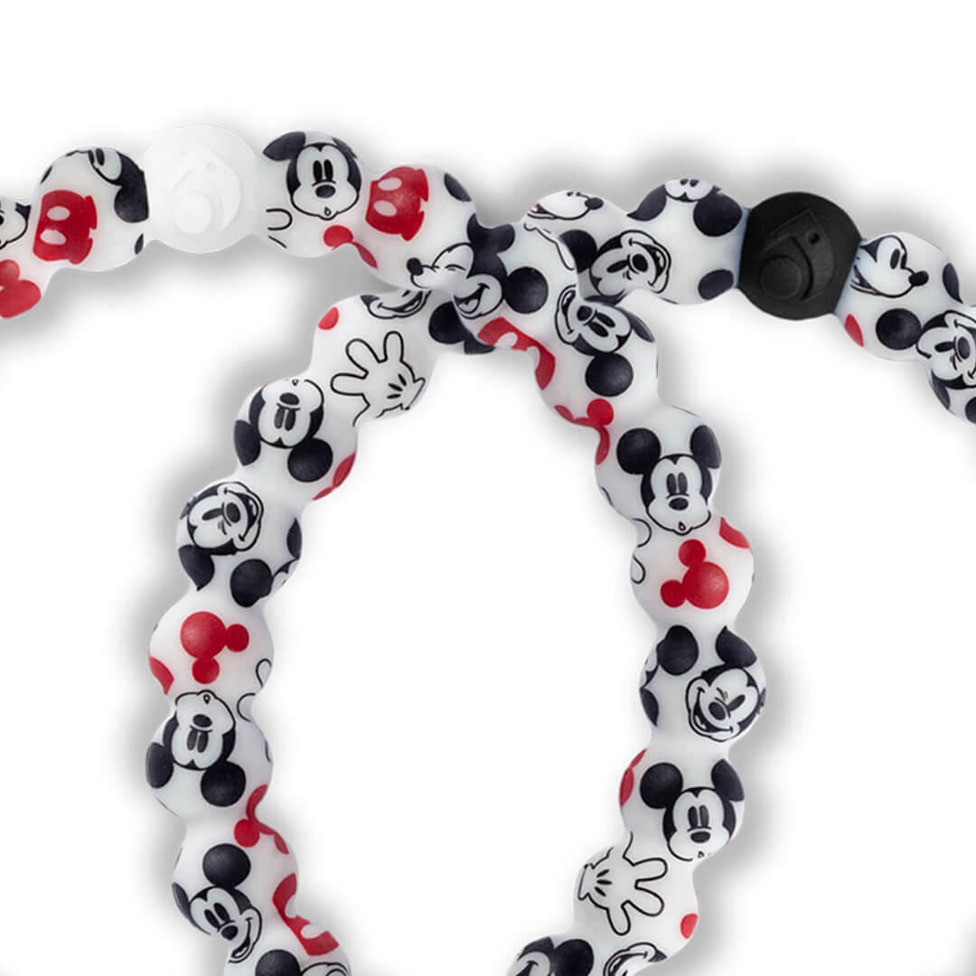 Close up of silicone beaded bracelet with Mickey Mouse pattern